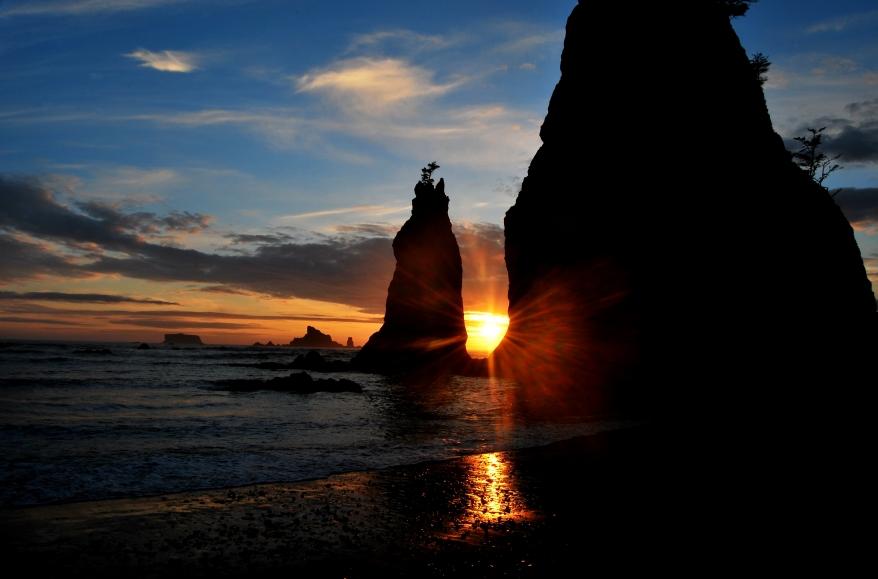 sunset-rialto beach-olympic national park-pacific ocean